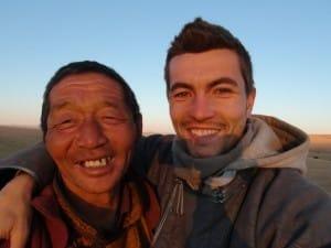 éleveur nomade et Alex mongolie