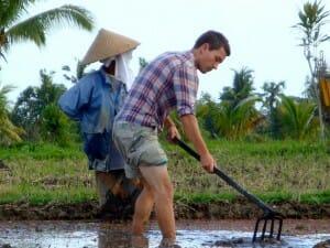 Alex dans les rizières bali indonésie
