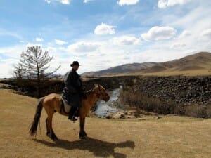 alex sur sa monture rando à cheval kharkhorin mongolie