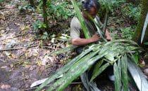 chino construit un sac parc national de Madidi Bolivie