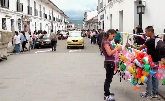 rue pavée popayan ville blanche colombie
