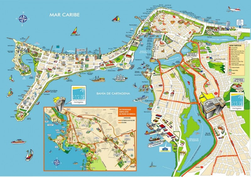 carte touristique baie de cartagène colombie