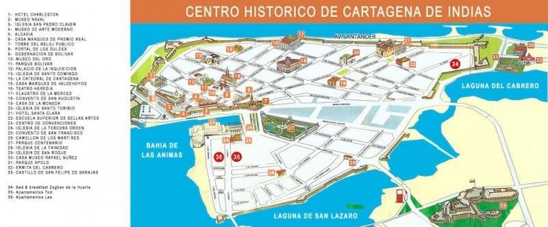 carte touristique cartagène colombie