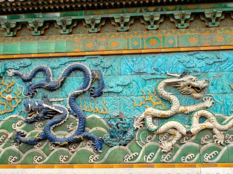 mozaique dragons en relief cite interdite beijing