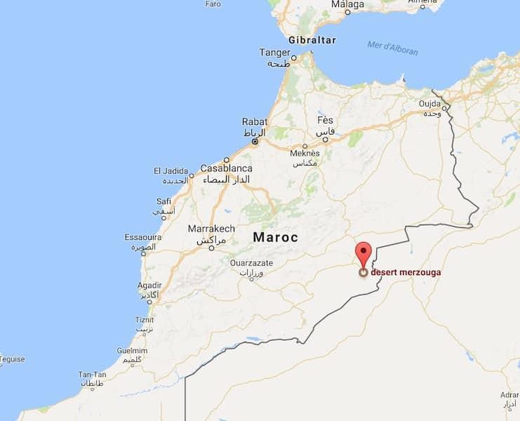 localisation desert de mergouza maroc