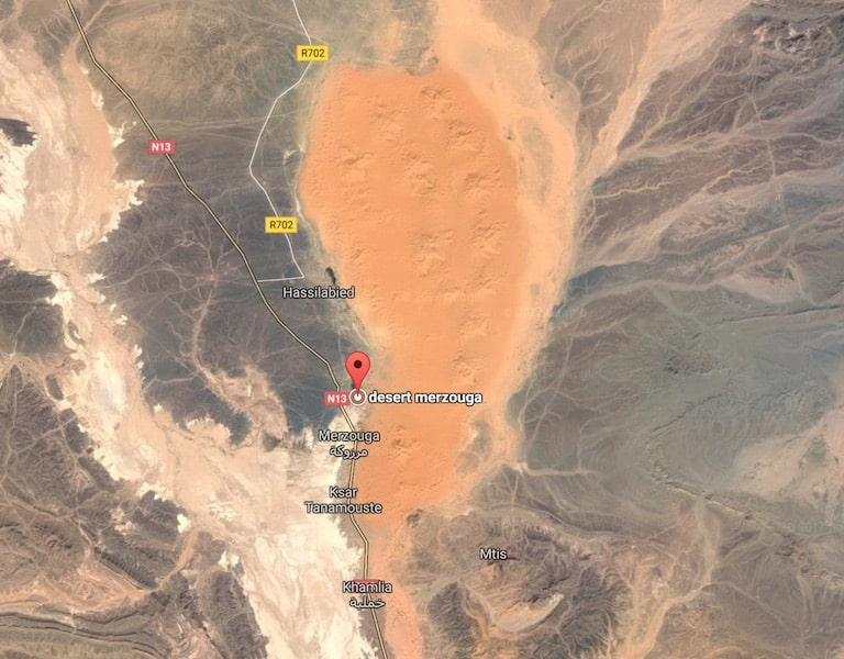 vue satellite desert mergouza, the desert of Morocco