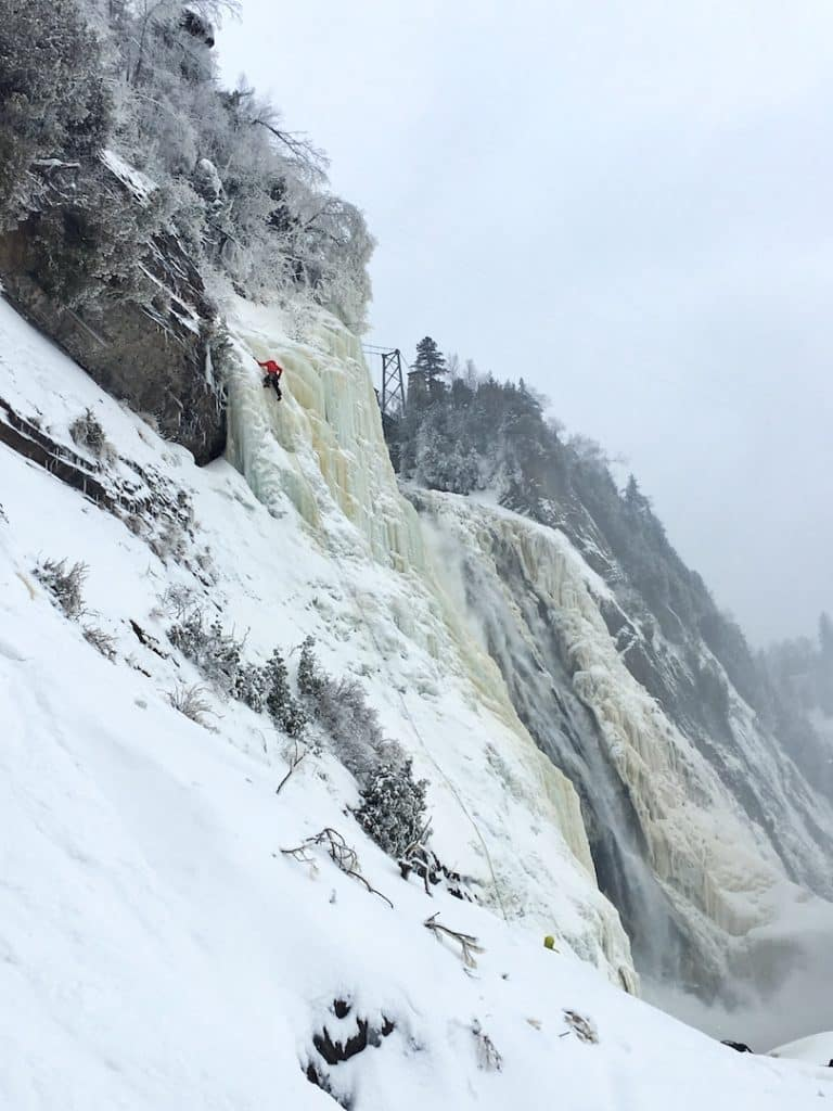 escalade glace chutes montmorency gelees hiver