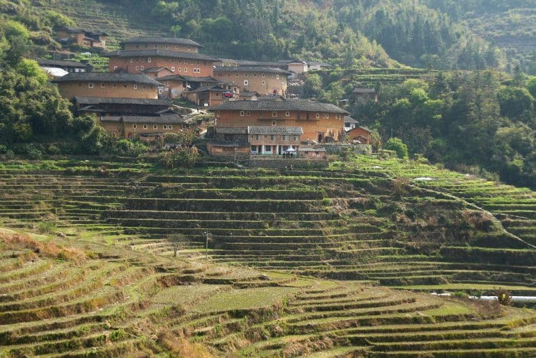 Fujian ses rizières et ses maisons toutes rondes construites par les Hakkas