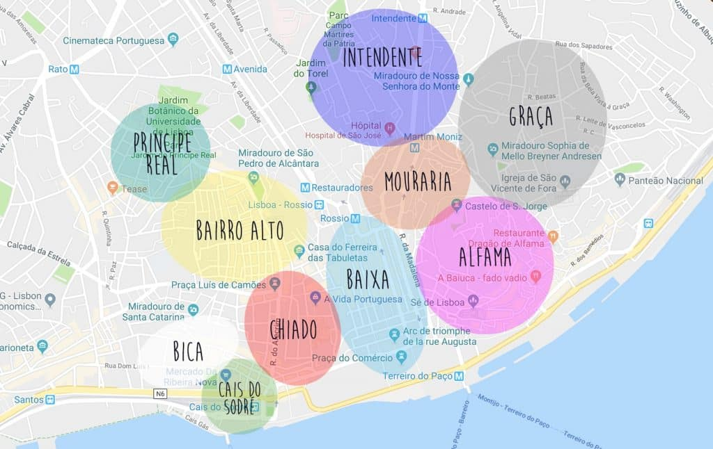 quels quartiers visiter à Lisbonne