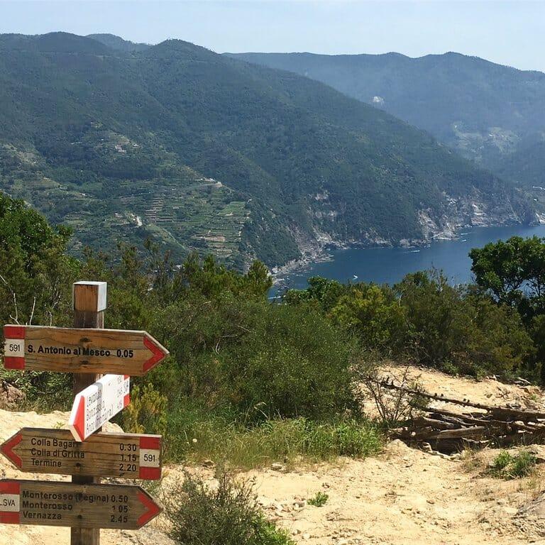 cinque terre panneaux vue sur Monterosso
