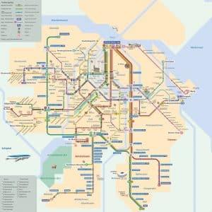 voyage amsterdam map transports en commun