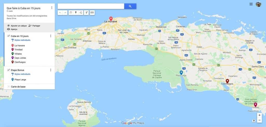 carte itineraire clicable trip cuba